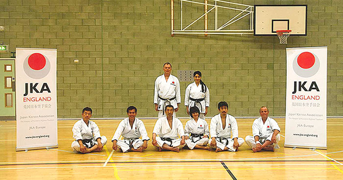 Sensei Martin, Shahinaz and Patrick at the Crawley International Course with the Instructors: Senseis Ohta, Nagatomo, Osaka, Okuma, and Larrsson (left to right)