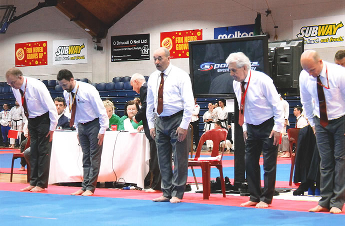 Sensei Martin Dobson refereeing at the JKA European Championships in Dublin